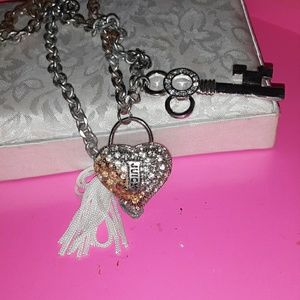 Juicy heart and key pendant necklace